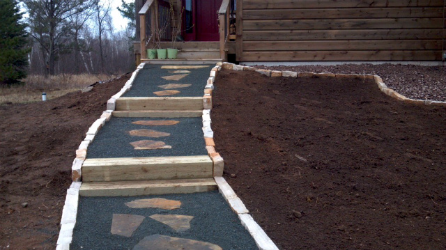 Flagstone and Timber Steps with Trap Rock