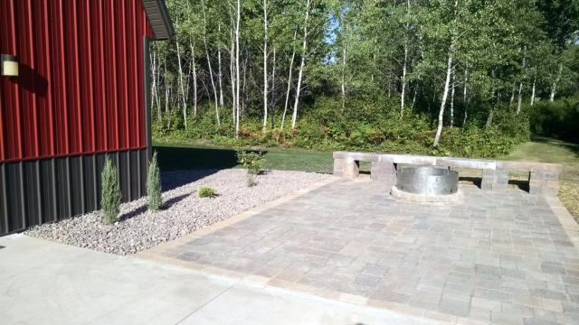 Firepit in Paver Patio with Sitting Area