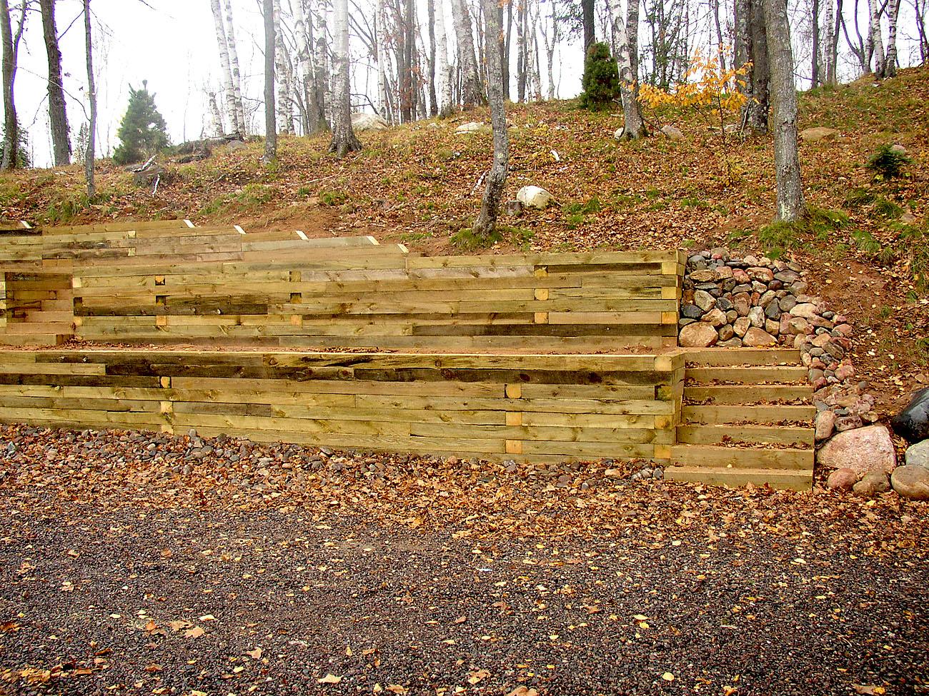 Tree Landscape Timber Retaining Walls